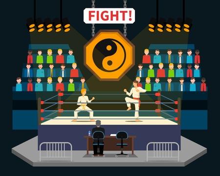 spectators: Martial arts fight concept with spectators and judge flat vector illustration Illustration
