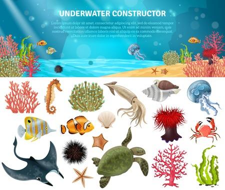 Mer animaux de la vie des plantes et des icônes de dessin animé paysage constructeur mis illustration vectorielle Vecteurs
