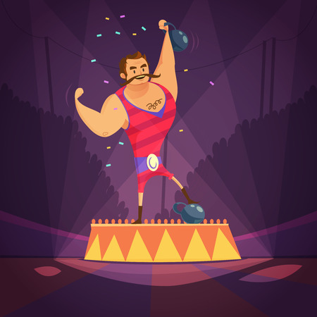 Circus athlete cartoon concept with weightlifting and power symbols vector illustration