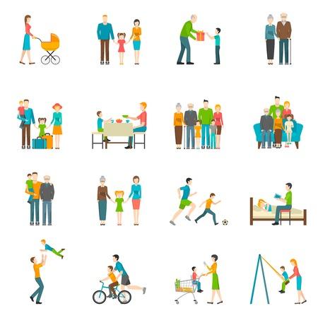 convivencia familiar: Conjunto de iconos con el fondo blanco que representa momentos de ilustración vectorial feliz vida familiar Vectores