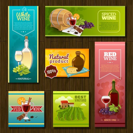 ceramic bottle: Wine banners set with vineyard cocktails ceramic bottle and barrel on wooden background isolated vector illustration