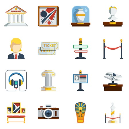 antique vase: Museum flat icon set with colored abstract elements like pictures antique vase labels tickets sculptures and others vector illustration