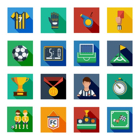 shadowed: Soccer  isolated colorful shadowed  icon set placed in square frames with various symbols of football vector illustration