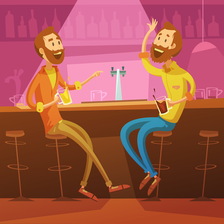 communication cartoon: Talking and drinking friends in the bar background with chairs and beer cartoon vector illustration