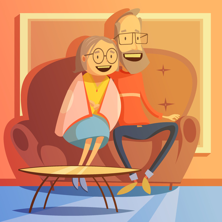 relax: Senior couple sitting on a sofa at home background cartoon vector illustration