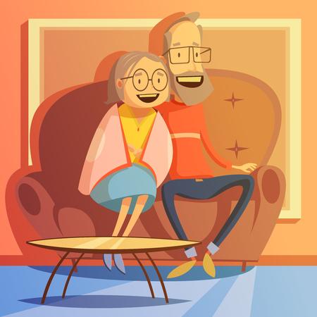 Senior paar zittend op een bank thuis achtergrond Cartoon vector illustratie Vector Illustratie