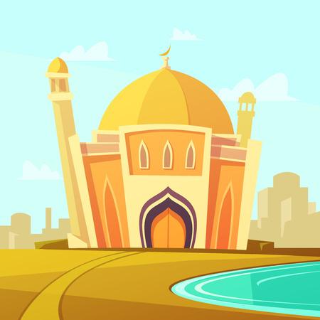 edificio Moschea con prato dal fiume vicino al fumetto illustrazione vettoriale città Vettoriali