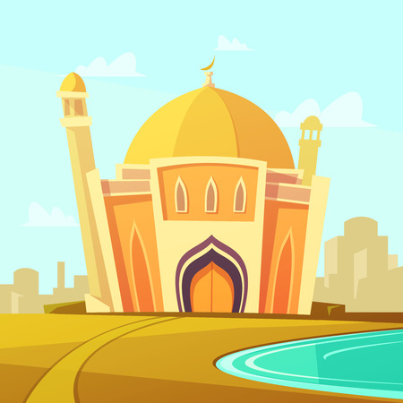 Mosque building with lawn by the river near the city cartoon vector illustration