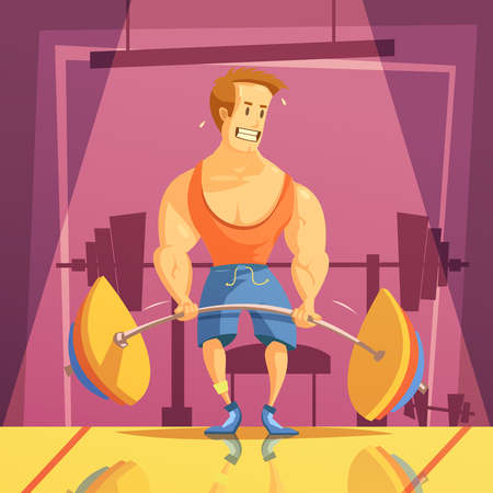 muscle man: Deadlift and gym cartoon background with weight man and barbell vector illustration