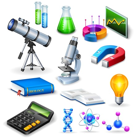 reagents: Science realistic icons set with microscope calculator telescope magnet  and  models of substance molecule vector illustration Illustration