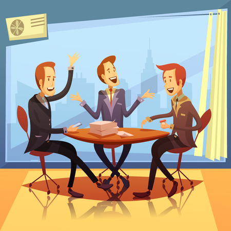 Business meeting with discussion and brainstorming symbols cartoon vector illustration