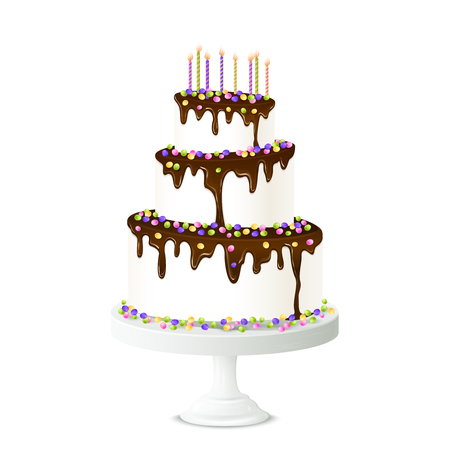 cake with icing: Realistic birthday cake with chocolate icing candles and sweet drops vector illustration