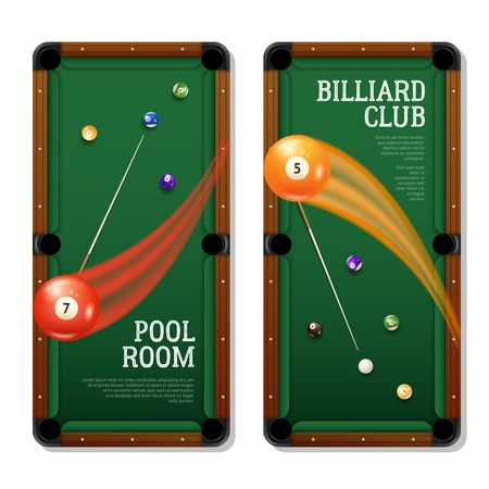 billiards room: Billiards vertical banners set with pool room symbols realistic isolated vector illustration
