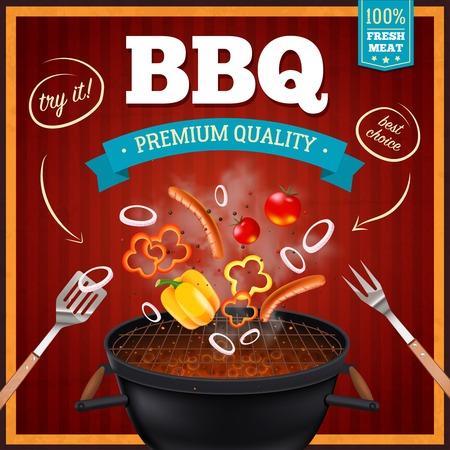 Barbecue realistisch Poster mit Premium-Qualität und beste Wahl Symbole Vektor-Illustration