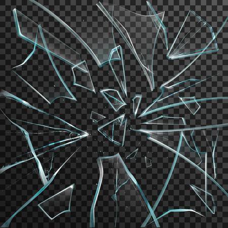 vidro: cacos realistas de vidro quebrado transparente no fundo abstrato ilustração vetorial cinza e preto fundo