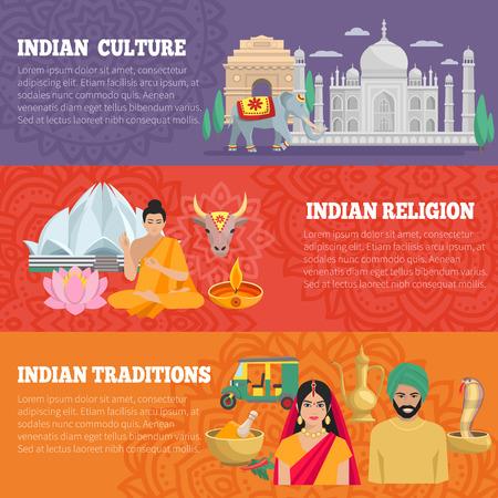 vaca: Banderas horizontales de la India se establece con la religión y las tradiciones ilustración vectorial aislado cultura