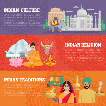 india culture: India horizontal banners set with traditions religion and culture isolated vector illustration