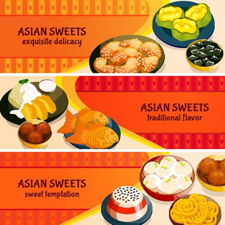 flavor: Asian sweets horizontal banners set with traditional flavor of exquisite delicacies isolated vector illustration