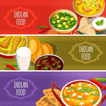 dishes set: Indian food horizontal banners set with national dishes sauces and beverages isolated vector illustration