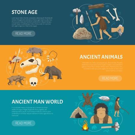 hombre prehistorico: Banderas horizontales sobre el hombre y los animales antigua vida en la edad aislado ilustración vectorial piedra prehistórica Vectores