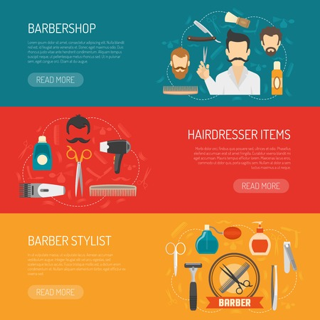 information  isolated: Horizontal banner with title and information about barbershop hairdresser items barber stylist isolated vector illustration Illustration