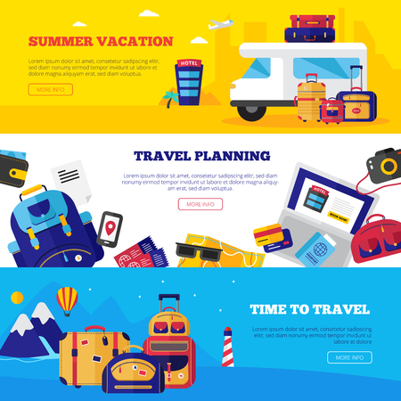 airplane ticket: Horizontal travel banner set with various aspects of vacation vector illustration