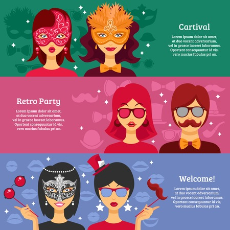 masquerade masks: Three horizontal banners for retro party and carnival advertising with people in decorative masks and masquerade attributes elements flat vector illustration