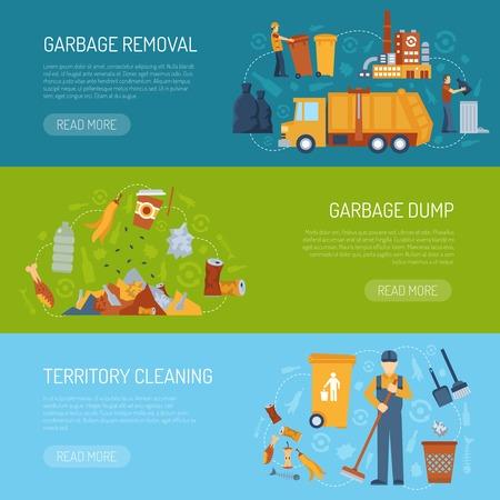 Horizontaal kleur banner met informatie over het grondgebied van het schoonmaken vuilnisbelt en verwijdering vector illustratie