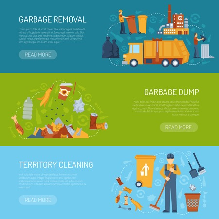 garbage bag: Horizontal color banner with information about territory cleaning garbage dump and removal vector illustration