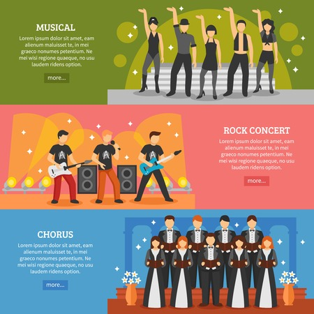 Theatre horizontal banners set of popular music performance with musical chorus rock actors flat vector illustration