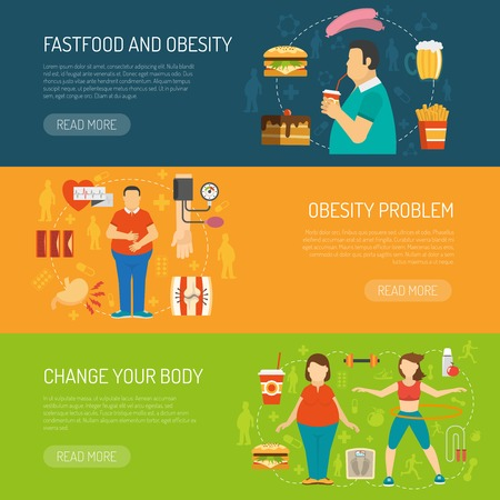 overeating: Horizontal color banners with information about fastfood obesity problem and health recommendation vector illustration