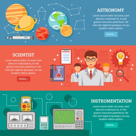 information  isolated: Astronomy science tools and equipment information online 3 flat horizontal banners website design abstract isolated vector illustration