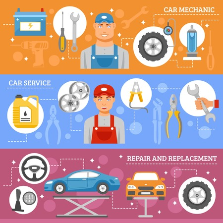 repair shop: Auto mechanic service 3 flat horizontal banners set with car repair wheels replacement abstract isolated vector illustration