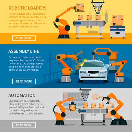 Automation horizontal banners set with assembly line and robotic loaders symbols flat isolated vector illustration Illustration