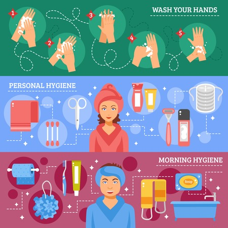 Morning personal hygiene and hands washing procedure inforaphic elements 3 flat banners set abstract isolated vector illustration