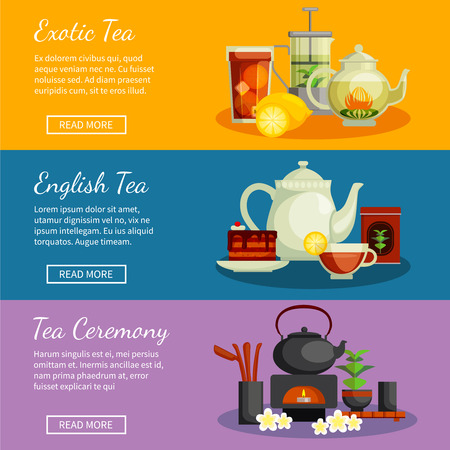 Tea horizontal banners set with English and exotic tea symbols flat isolated vector illustration Illustration