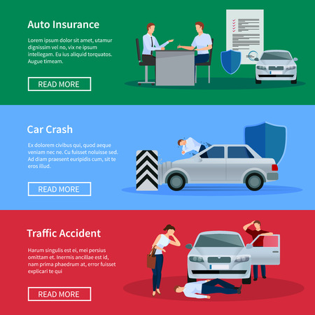 damage: Auto insurance horizontal banner set with negotiations damage from car crashes and traffic accidents isolated vector illustration