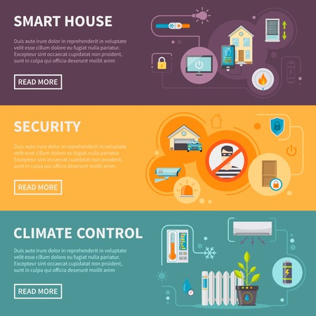 Smart house horizontal banners set with security system and climate control isolated vector illustration Illustration