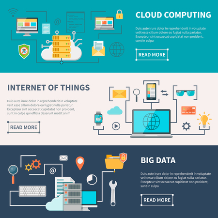 internet education: Information technologies horizontal banners set with cloud computing internet and data protection isolated vector illustration