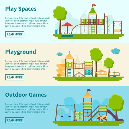 flying monkey: Horizontal color banners with title and information field about playgrounds for outdoor games vector illustration