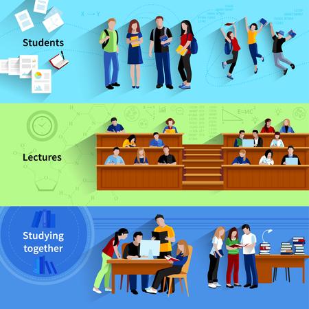 Les gens à l'université plat bannières horizontales avec les étudiants qui étudient ensemble assis dans l'auditorium et le saut heureux après vecteur d'examen illustration