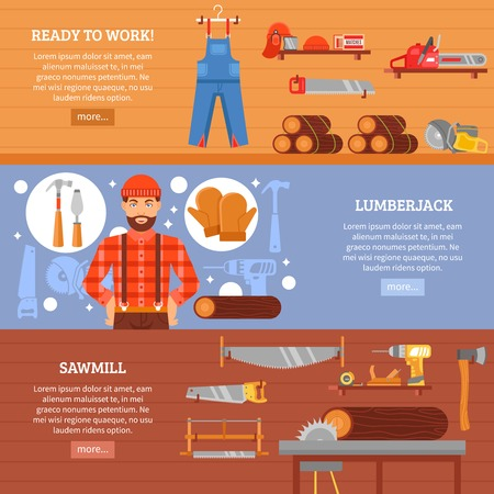 wood working: Lumberjack and sawmill horizontal banners set with working clothes tools equipment and wood isolated vector illustration