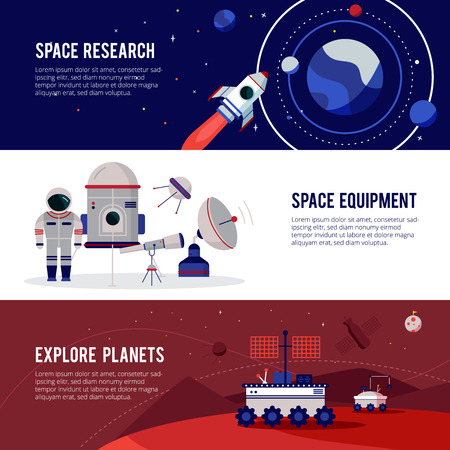 Space research equipment for planets and stars exploration 3 flat horizontal banners set abstract isolated vector illustration