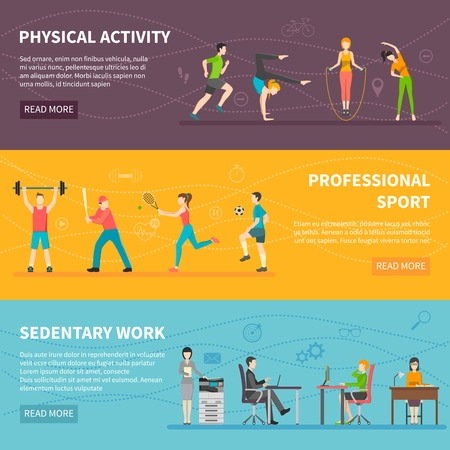 sedentary: Set of horizontal color banners about different physical activity from professional sport to sedentary work detector vector illustration