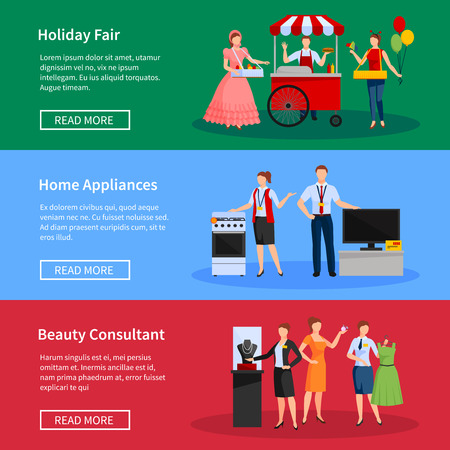 consultants: Consultants and street sellers banners set with holiday fair home appliances and clothes isolated vector illustration Illustration