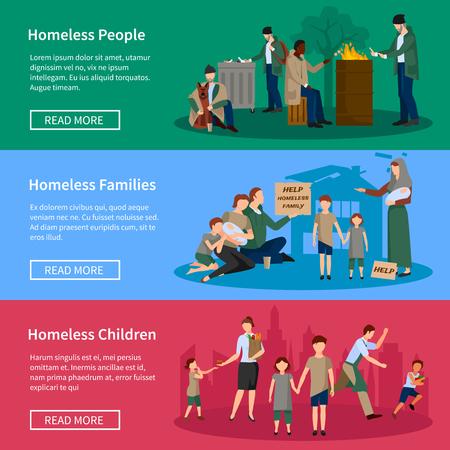 vagabundos: Banner sin hogar Set con las personas que viven en la calle, sin comida y dinero pidiendo ayuda a los transeúntes ilustración vectorial