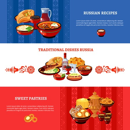 russian: Russian cuisine flat national flag colors horizontal banners set with traditional dishes and pastry recipes abstract vector illustration
