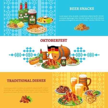 comida alemana: Alemán tradicional fiesta popular más grande del mundo ortoberfest 3 banderas planas establecen con cerveza y aperitivos resumen ilustración vectorial