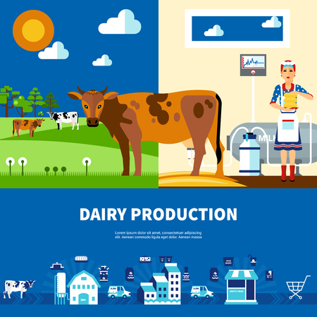 milk production: Dairy production set with cows on field milk farm and business presentation isolated vector illustration Illustration