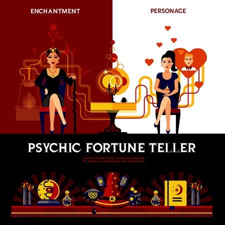 psychic: concepto cajero psíquica fortuna con el libro velas y deletrear ilustración vectorial aislado Vectores
